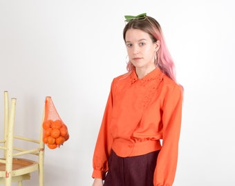 1980s Persimmon Peplum Blouse with Floral Cutouts / XS - small