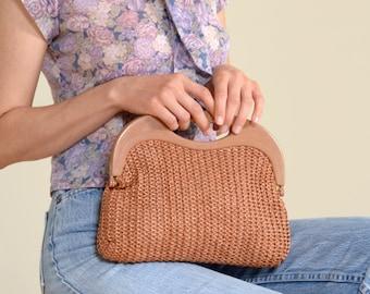 70s Mauve Crochet Handbag