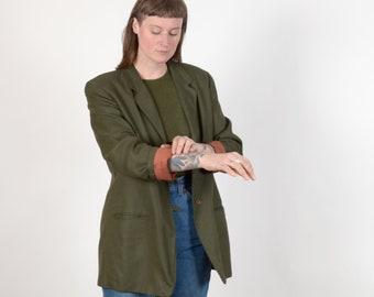 1980s Moss Green Blazer with Pockets / by  Liz Claiborne / medium - large