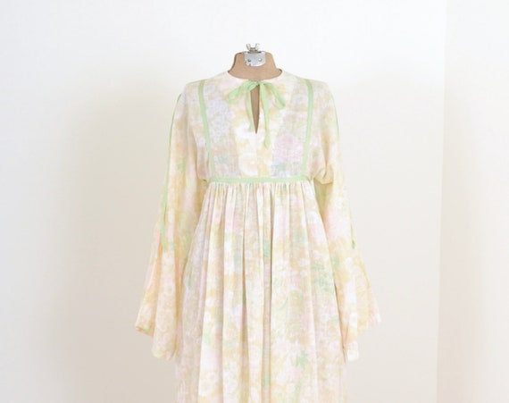 70s Floral Cotton Maxi Dress / XS - Small