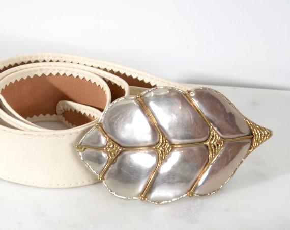 Silver Leaf Buckle Belt