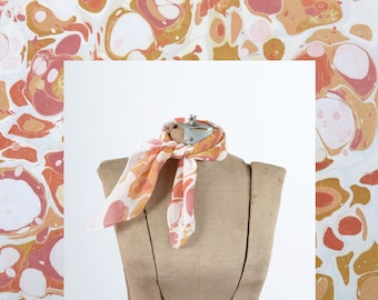 Rosey River Pebbles Marbled Scarf / Hand Dyed / 100% Silk