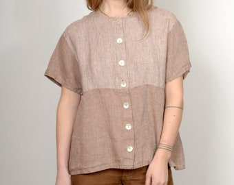 1990s Colorblocking Linen Button Up / by Earth Tones / small - medium