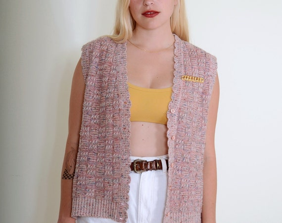 80s Pink Knit Sweater Vest / Small - Large