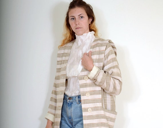 80s Structural Striped Blazer / Small - Med