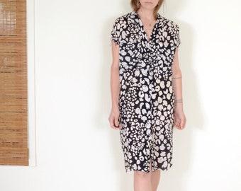 80s B+W Silk Leopard Print Dress by Flora Kung