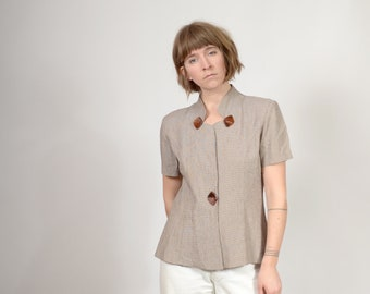 80s Tailored Blouse with Keyhole Collar / by Taurus II / medium