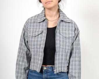 90s Plaid Croped Zipper Jacket / 100% Cotton / small - medium