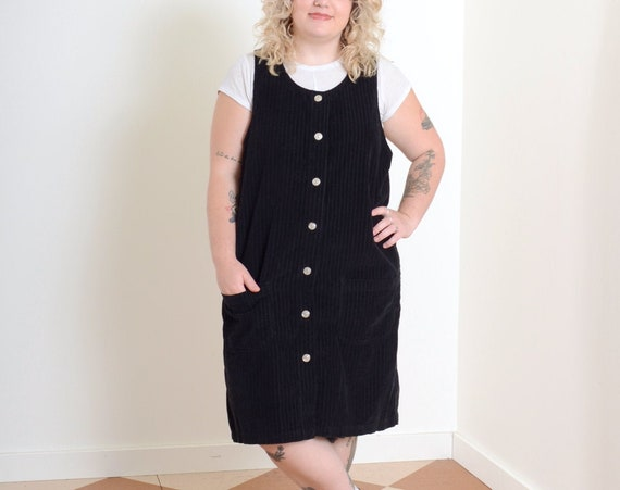 90s Corduroy Jumper Dress / Med - Large - XL
