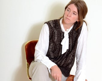 80s Brown Knit Sweater Vest