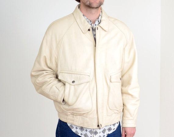 80s Ivory Leather Bomber Jacket