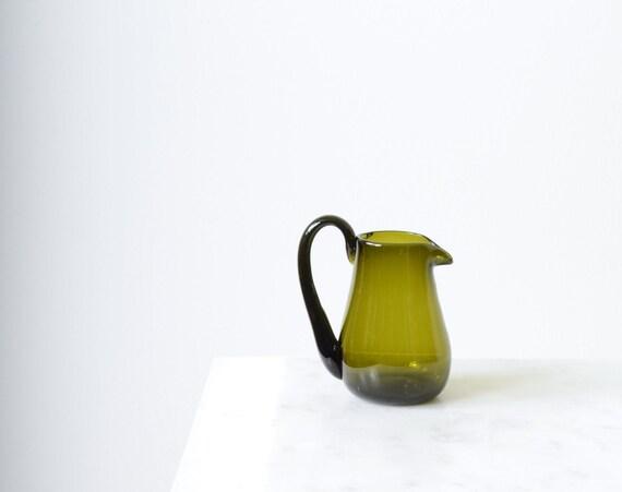Green Glass Creamer / Vase