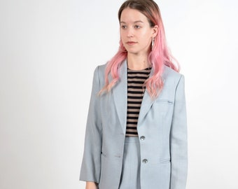 "1970s does 40s Style Pale Blue Skirt Suit / small - medium / 26"" waist"