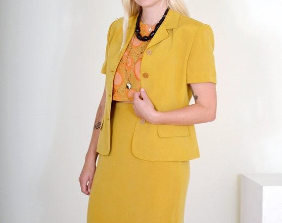 "90s Ochre Silk Skirt Suit / Small - Med / 28"" waist"