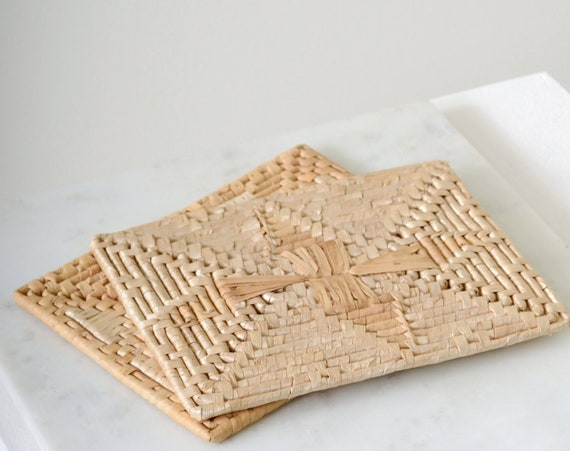 70s Woven Straw Trivets