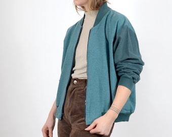 1980s Two Tone Turquoise Bomber Jacket / medium - large