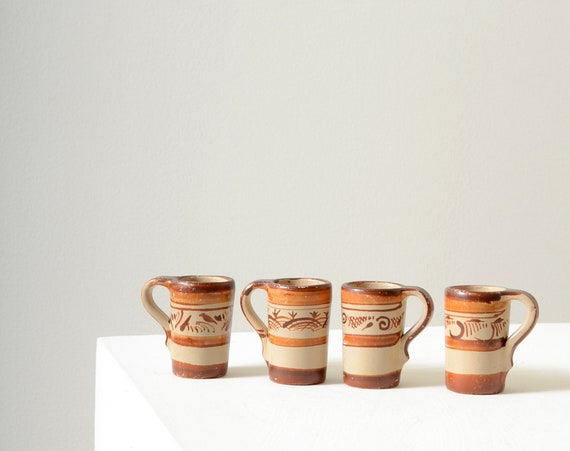 Painted Mexican Clay Mezcal Cups