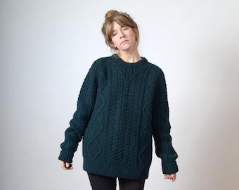 1980s Deep Emerald Wool Fisherman Knit Sweater   Chunky Cable Knit Jumper  by Nordstrom   Raglan Sleeves   Shetland Wool   fits Med - Lg - XL 43987ba8f