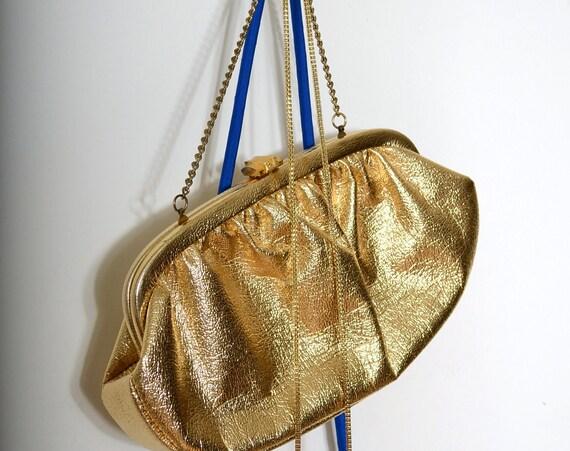 60s Gold Vinyl Handbag
