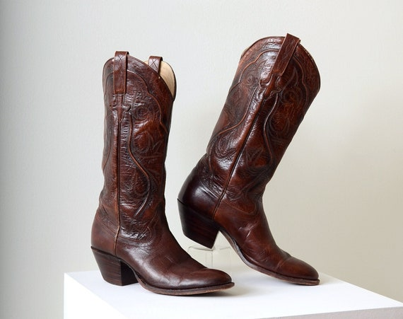 Brown Leather Cowgirl Boots by Dan Post / womens size 7