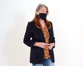 90s Black Wool Blazer Jacket
