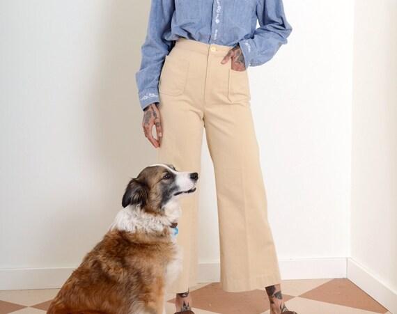"""70s Cream Sailor Style Pants / 25"""" waist"""