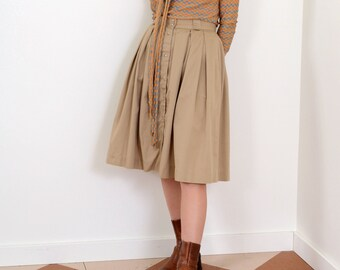 80s Pleated Cotton Skirt with Pockets