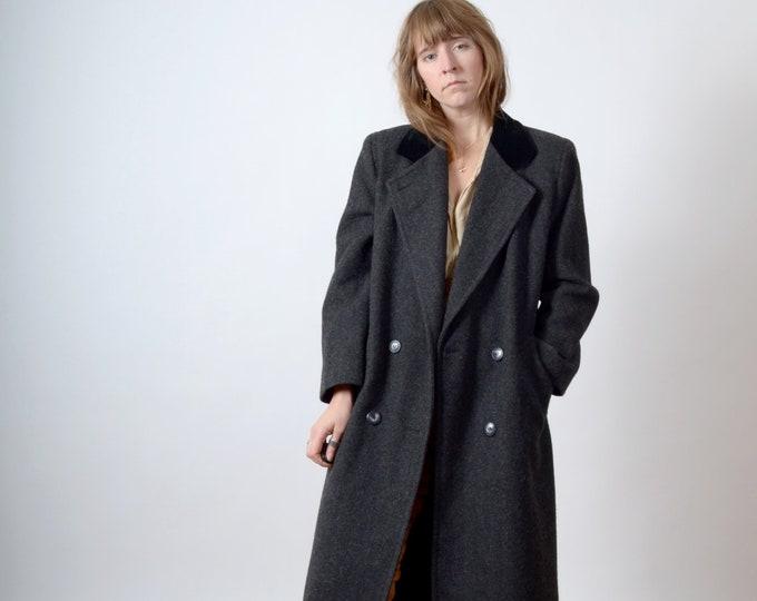 Featured listing image: Minimal 90s Long Wool Blazer Coat / by Karen Petites / medium - large