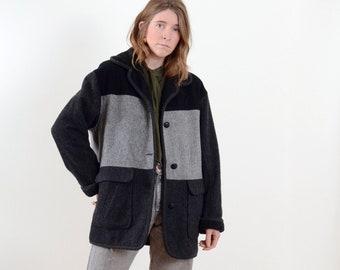 90s Colorblock Wool Blend Jacket