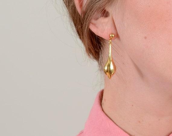 Gold Tone Teardrop Earrings / 2 inches