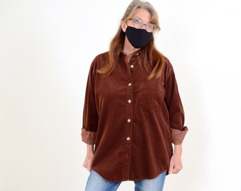 90s Oversized Brown Corduroy Button Up