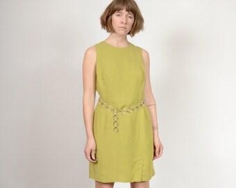 Chartreuse Linen Dress / Sleeveless Mini Dress / Minimal Style 90s Vintage Dress by Ann Taylor / size Medium - Large