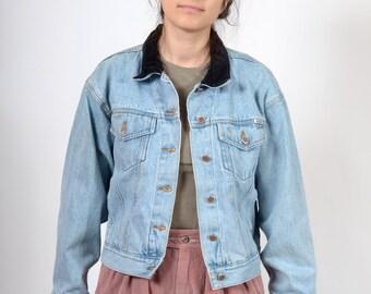 90s Velvet Collar Denim Jacket / by Bill Blass small - medium