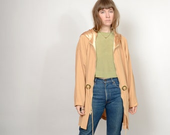 1980s Apricot Cinch Waist Hooded Jacket / made in USA / medium - large - XL