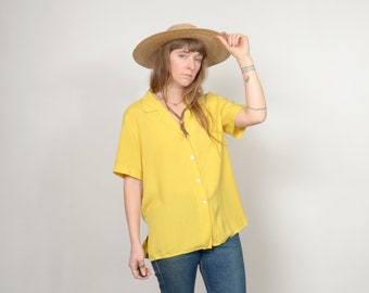90s Yellow SILK Button Tee / by CLIO / medium - large