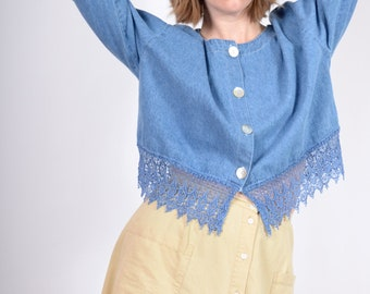 Boxy Denim Top with Lace Fringe / made in USA / large