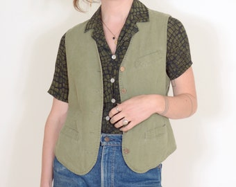 90s Moss Green Cotton Vest