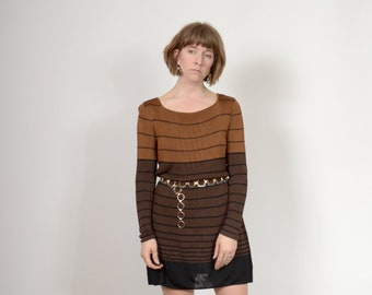90s Brown Striped Knit Dress / by Laundry / medium - large