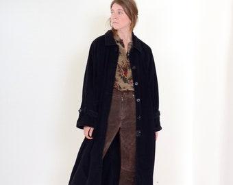 80s Long Black Corduroy Coat