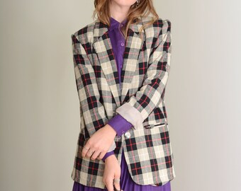 90s Plaid Blazer Jacket