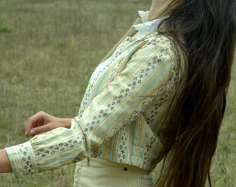 1960s Woven Cotton Brocade Jacket / Cropped Boxy Jacket / Striped Floral Upholstery Fabric / Bohemian Style / fits XS - Small