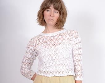 White Cotton Mesh Lace Top / small - medium