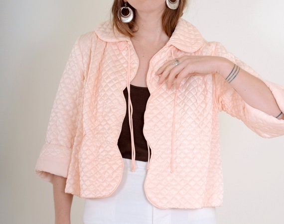 50s Quilted Satin Barbizon Bed Jacket / Small - Large