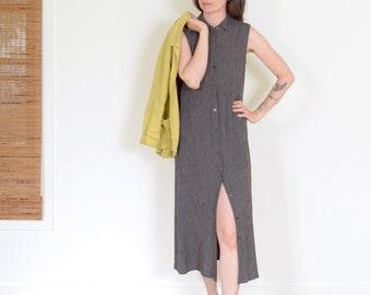 90s Sleeveless Windowpane Button Dress