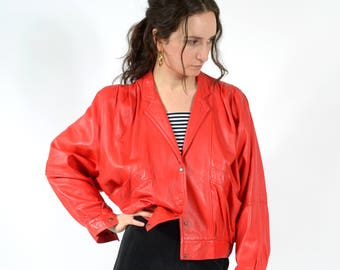 1980s Siren Red Leather Cropped Batwing Jacket / Made in Italy by Vera Pelle / fits XS - Small - Medium