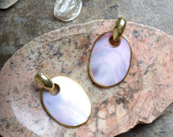 "1980s Pink Abalone Shell Earrings / 2 3/4"" length"