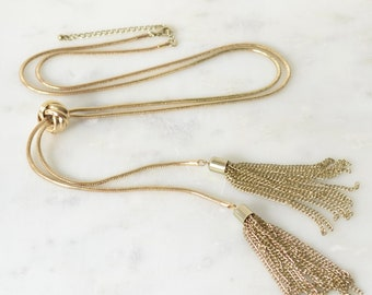 Long Snake Chain Tassel Necklace