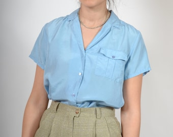 Diamond Blue Button Up Blouse / 100% Silk Collared Shirt with a Pocket / Minimal Style Perfect for Springtime / size Small - Medium