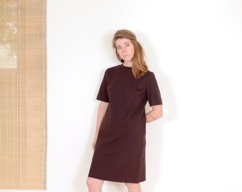 60s Brown Knit Scooter Dress