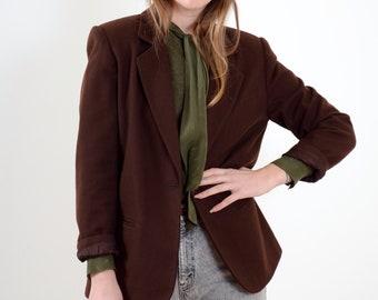 90s Brown Wool Blazer Jacket